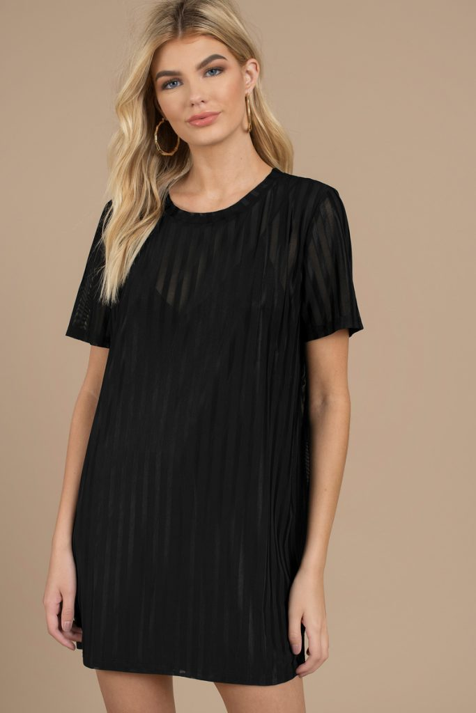 black-call-me-baby-mesh-shift-dress