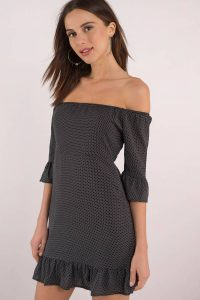 Shop the CAMILA BLACK OFF SHOULDER DRESS at tobi.com!