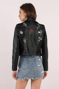 Shop the Kia Black Embroidered Pleather Jacket from Tobi.com