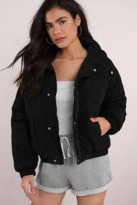 tobi.com - primrose black button up puffer jacket