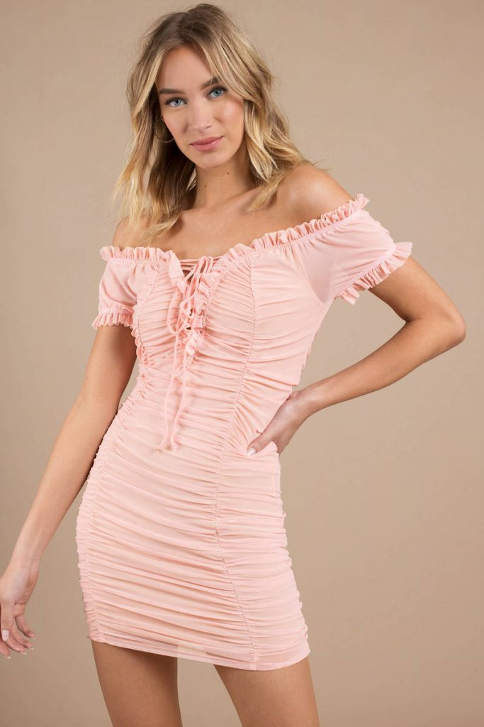 pink-stephanie-ruched-mesh-bodycon-dress