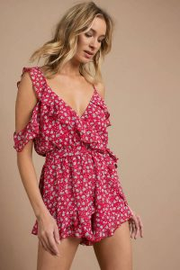TREAT YOU BETTER RED MULTI RUFFLE ROMPER at tobi.com!