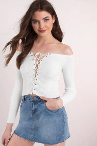 Shop Tobi Katrina Off shoulder ribbed knit top.
