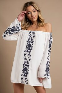 BOHO BABE WHITE & NAVY EMBROIDERY SHIFT DRESS at tobi.com!