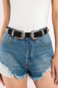 tobi.com - beverly black and silver double buckle belt