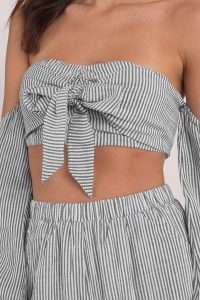 CORA GREY OFF SHOULDER CROP TOP