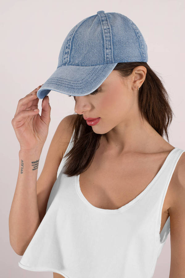 tobi.com - take me out to the ball game medium wash denim cap
