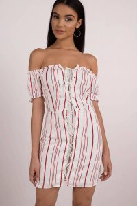 Shop the Nikki Off Shoulder Shift Dress at tobi.com!