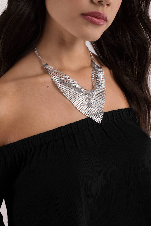 tobi.com - live it up silver chainmail bandana choker
