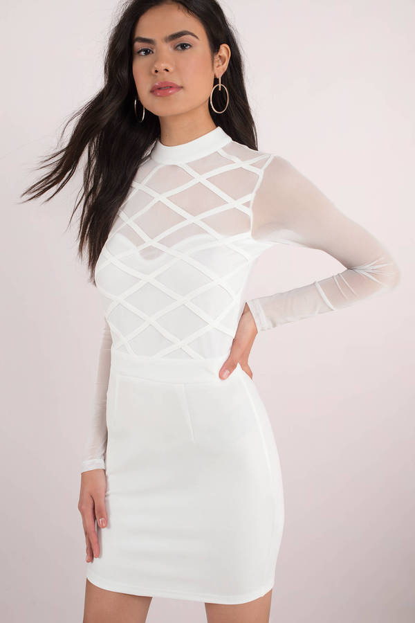 white-know-better-mesh-bodycon-dress