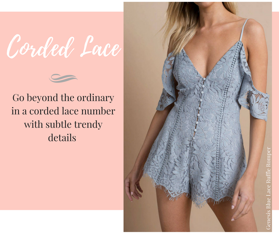 Lace dresses, tops, and bottoms for every occasion