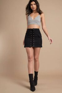 THAT THING YOU DO BLACK DENIM LACE UP SKIRT at tobi.com!