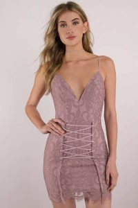 TAYLOR DARK ROSE LACE UP BODYCON DRESS at tobi.com!