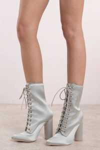 STORM GREY LACE UP SATIN BOOTIES at tobi.com!