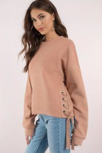 FLEECE LIGHTNING NUDE LACE UP SWEATER at tobi.com!