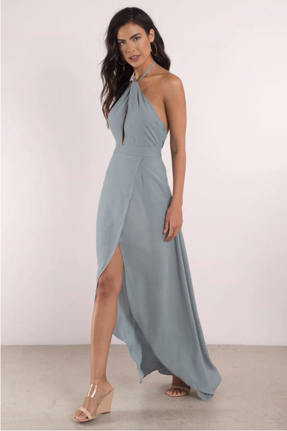 patti halter wrap maxi dress
