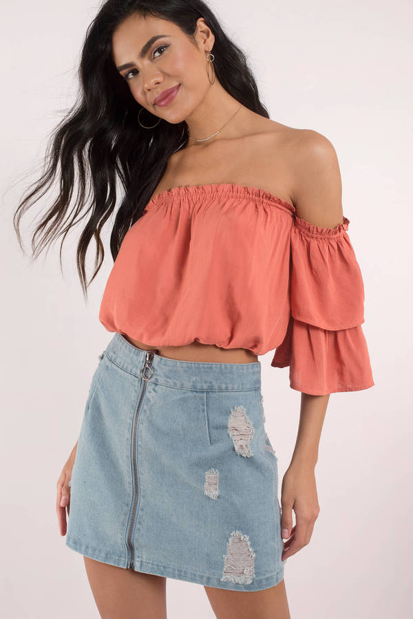 piper ruffled off shoulder top