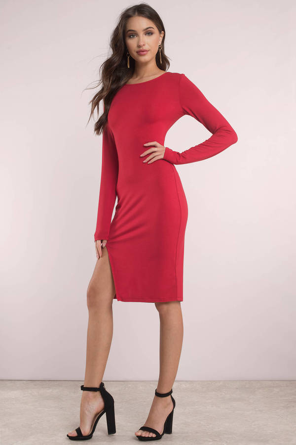 red-vene-slit-midi-dress