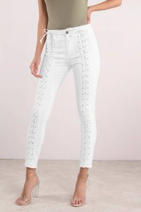 Shop the PISTOLA ROAD TRIPPIN' WHITE LACE UP DENIM PANTS at tobi.com!