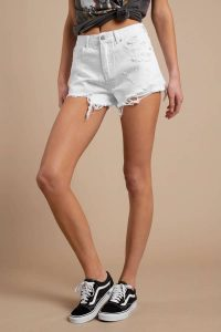SIERRA MADRE WHITE HIGH RISE DISTRESSED SHORTS at tobi.com!