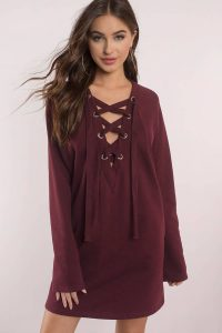 SOPHIA WINE LACE UP SWEATSHIRT DRESS at tobi.com!