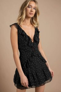 SAY HELLO BLACK RUFFLE SKATER DRESS at tobi.com!
