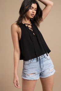 WILLOW BLACK LACE UP CROP TANK at tobi.com!