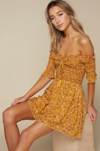 SUN KISS MARIGOLD SMOCKED SKATER DRESS at tobi.com!