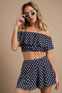 CONNECT THE DOTS NAVY MULTI RUFFLE CROP TOP at tobi.com