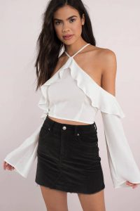 CELINE 'WHITE' RUFFLED HALTER BLOUSE at tobi.com!