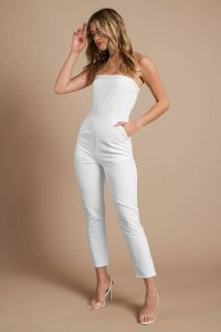 GINA WHITE STRAPLESS JUMPSUIT at tobi.com!