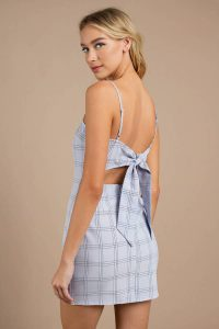 WITH TIME LIGHT BLUE PLAID BODYCON DRESS at tobi.com!
