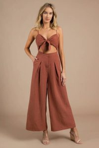 SIX CRISP DAYS THISTLE RUST FRONT TIE JUMPSUIT at tobi.com!