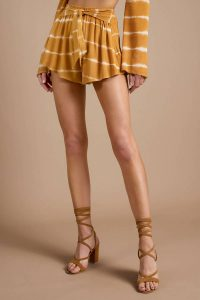 FAITH YELLOW FRONT TIE SHORTS at tobi.com!