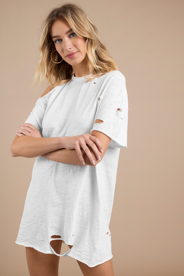 white-torn-apart-distressed-tee-dress