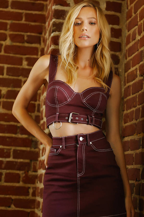 maroon-ciara-belted-bustier-crop-top