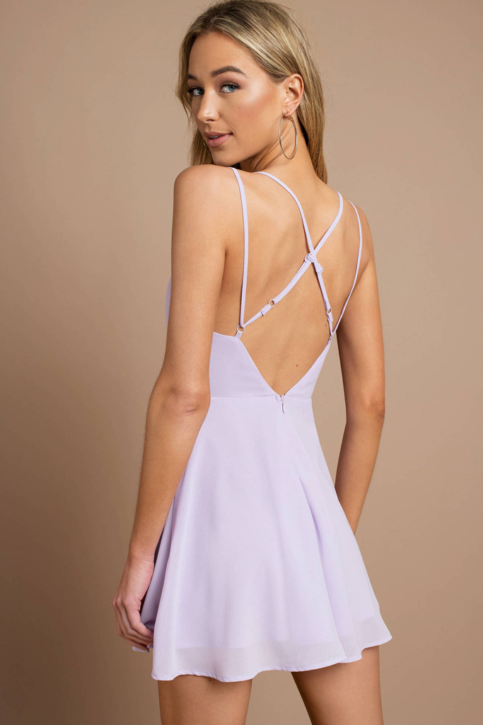 A flirty lavender skater dress for spring 2019