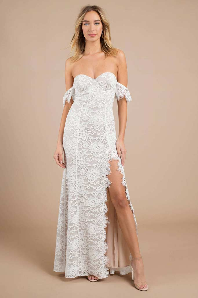 An affordable lace wedding dress with off shoulder sleeves